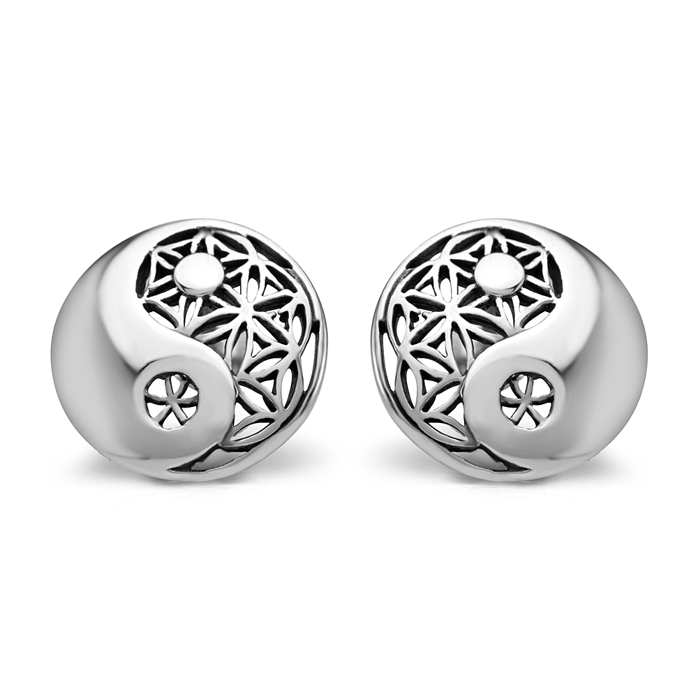 925 Sterling Silver 12 mm Filigree Flower of Life Mandala Yin Yang Symbol Round Post Stud Earrings