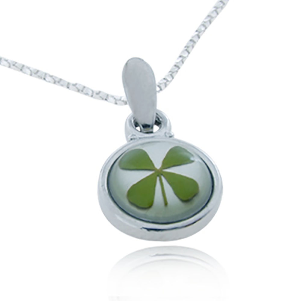Stainless Steel Real Irish Four (4) Leaf Clover Good Luck Shamrock Round Pendant Necklace, 18 inches