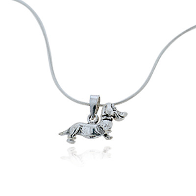 925 Oxidized Sterling Silver Dachshund Puppy Dog Pet Lover Pendant Necklace, 18 inches
