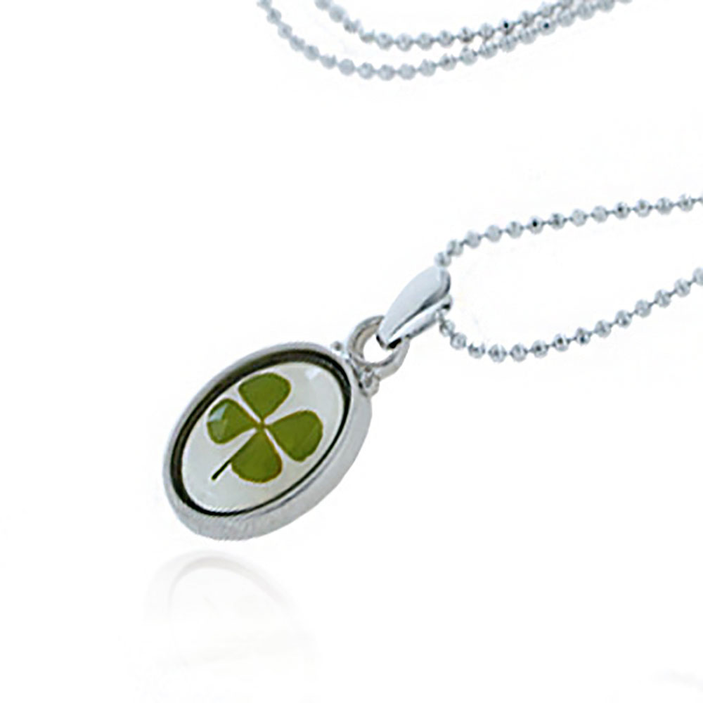 Stainless Steel Real Four (4) Leaf Clover Good Luck Shamrock Oval Pendant Necklace, 16-18 inches