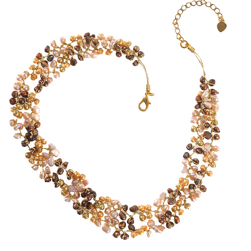 Silk Thread and Genuine Yellow Cultured Freshwater Pearl Bead Necklace, 14-16 inches