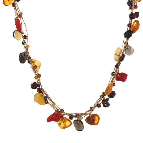 Silk Thread and Yellow Orange and Red Bead Cluster Necklace, 16-18 inches