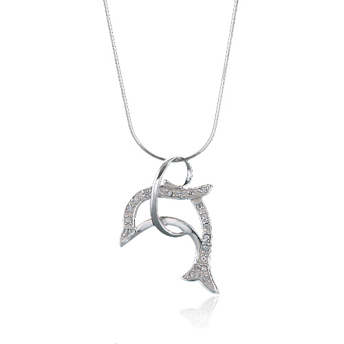 925 Sterling Silver Cubic Zirconia CZ Jumping Dolphin Porpoise Pendant Necklace, 18 inches