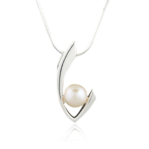 925 Sterling Silver Cultured Freshwater White Pearl Elegant V Curve Pendant Necklace, 18 inches