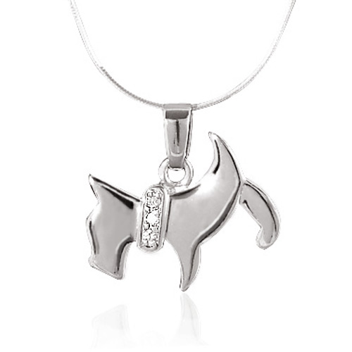 925 Sterling Silver Scottish Terrier Scottie Puppy Dog Pet Pendant Necklace, 18 inches Snake Chain