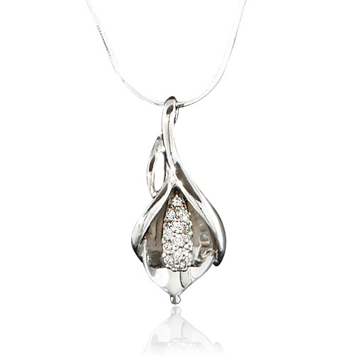 925 Sterling Silver CZ Cubic Zirconia Lily Flower Nature Pendant Necklace, 18 inches