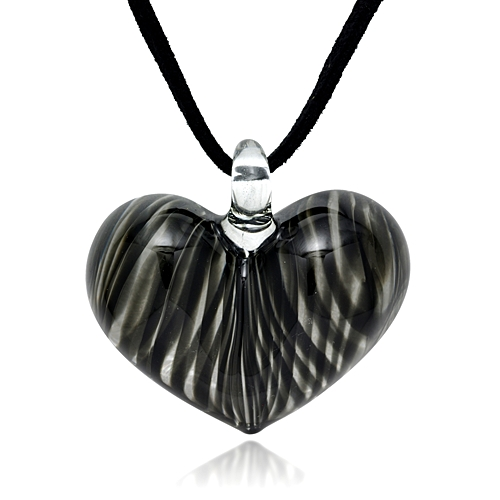 Hand Blown Venetian Murano Glass Black Curve Line Heart Shaped Pendant Necklace, 18-20 inches