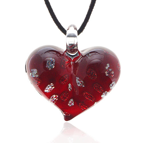 Hand Blown Venetian Murano Glass Red with Tiny Flowers Pendant Necklace, 18-20 inches