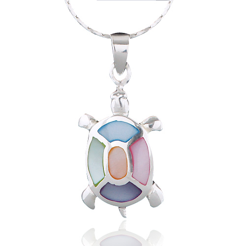 925 Sterling Silver Multi-Colored Mother of Pearl Shell Sea Turtle Pendant Necklace, 18 inches