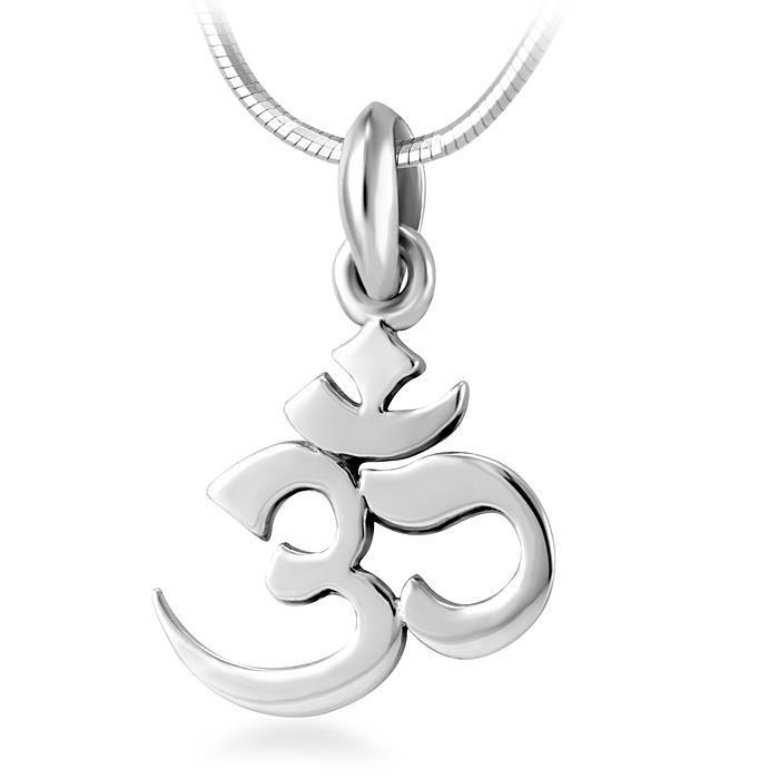 925 Sterling Silver Yoga, Aum, Om, Ohm, Sanskrit Yogi Pendant Necklace, 18 inches