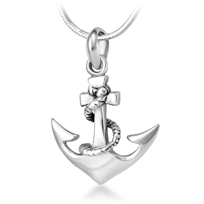 925 Sterling Silver Navy Sailor Ship Anchor Pendant Necklace, 18 inch Snake Chain