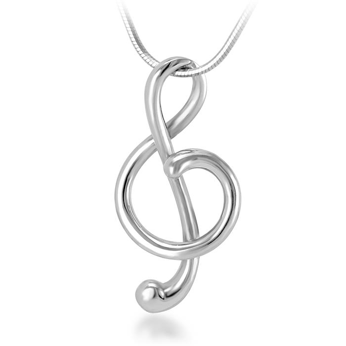 925 Sterling Silver Treble G Clef Musician Pendant Necklace, 18 inch Snake Chain