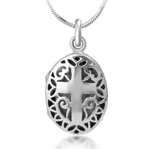 925 Sterling Silver Open Filigree Christian Cross Oval Shaped Locket Pendant Necklace, 18 inches