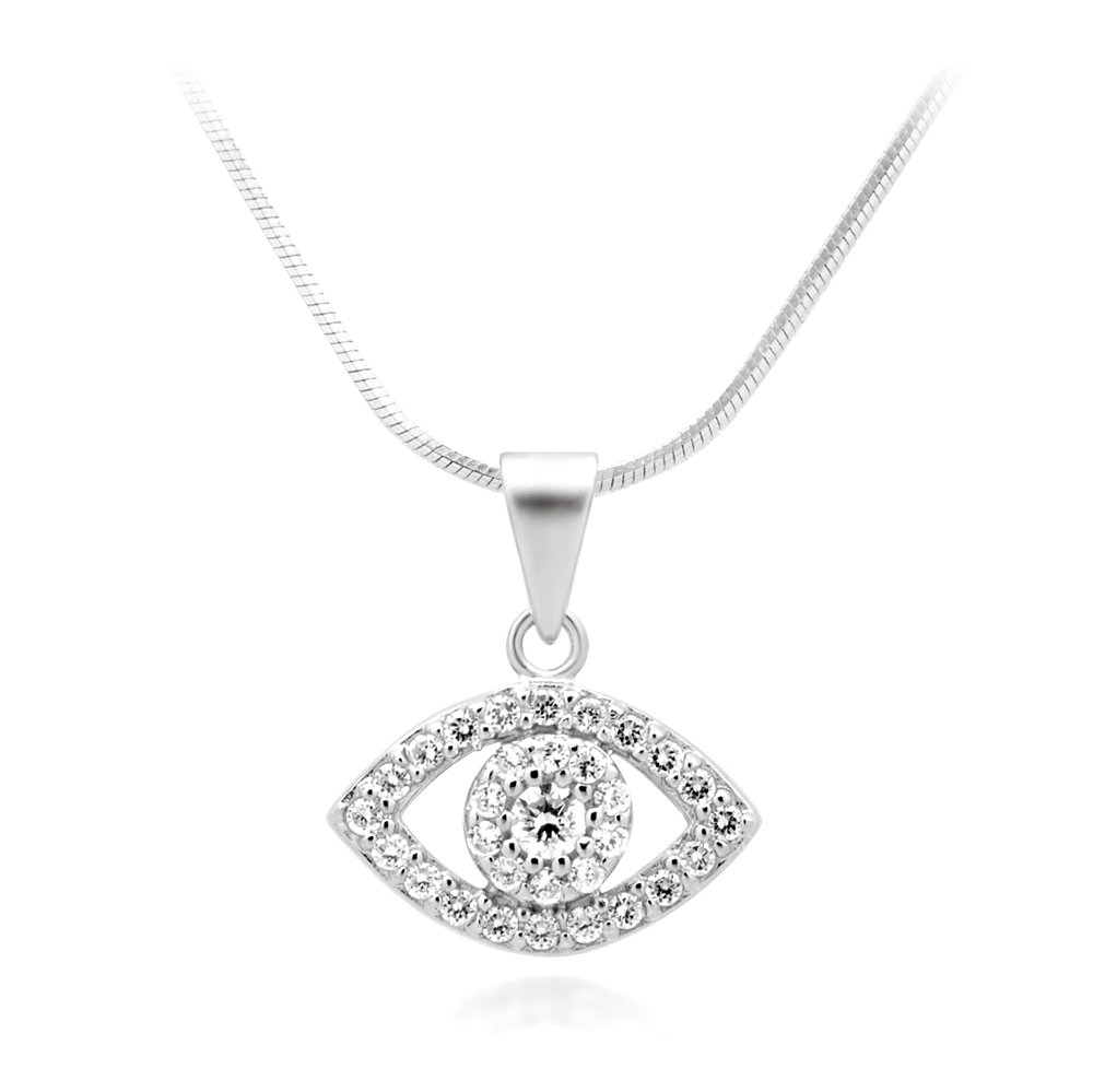 Rhodium Plated 925 Sterling Silver CZ Cubic Zirconia Evil Eye Protection Pendant Necklace, 18 inches