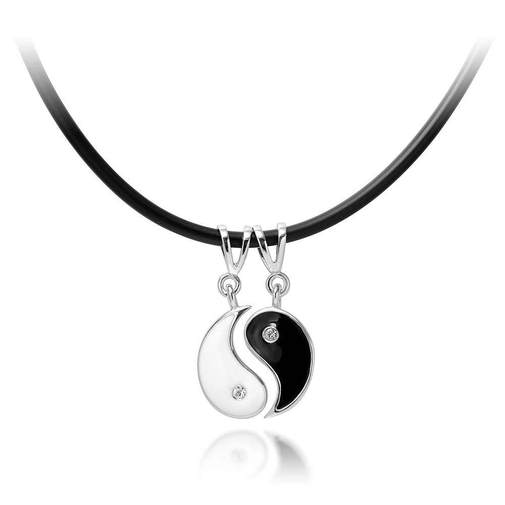 925 Sterling Silver Yin Yang Two Cubic Zirconia CZ Rubber Cord Necklace, 16-19 inches