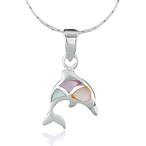 925 Sterling Silver Multi-Colored Mother of Pearl Shell Jumping Dolphin Pendant Necklace, 18 inches