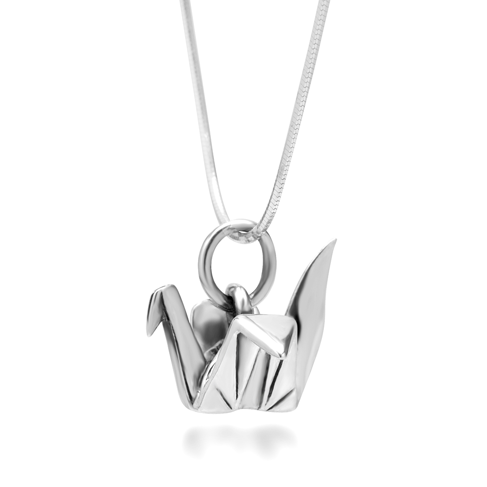 925 Sterling Silver Origami Bird Paper Crane Flapping Bird Pendant Necklace, 18 inches
