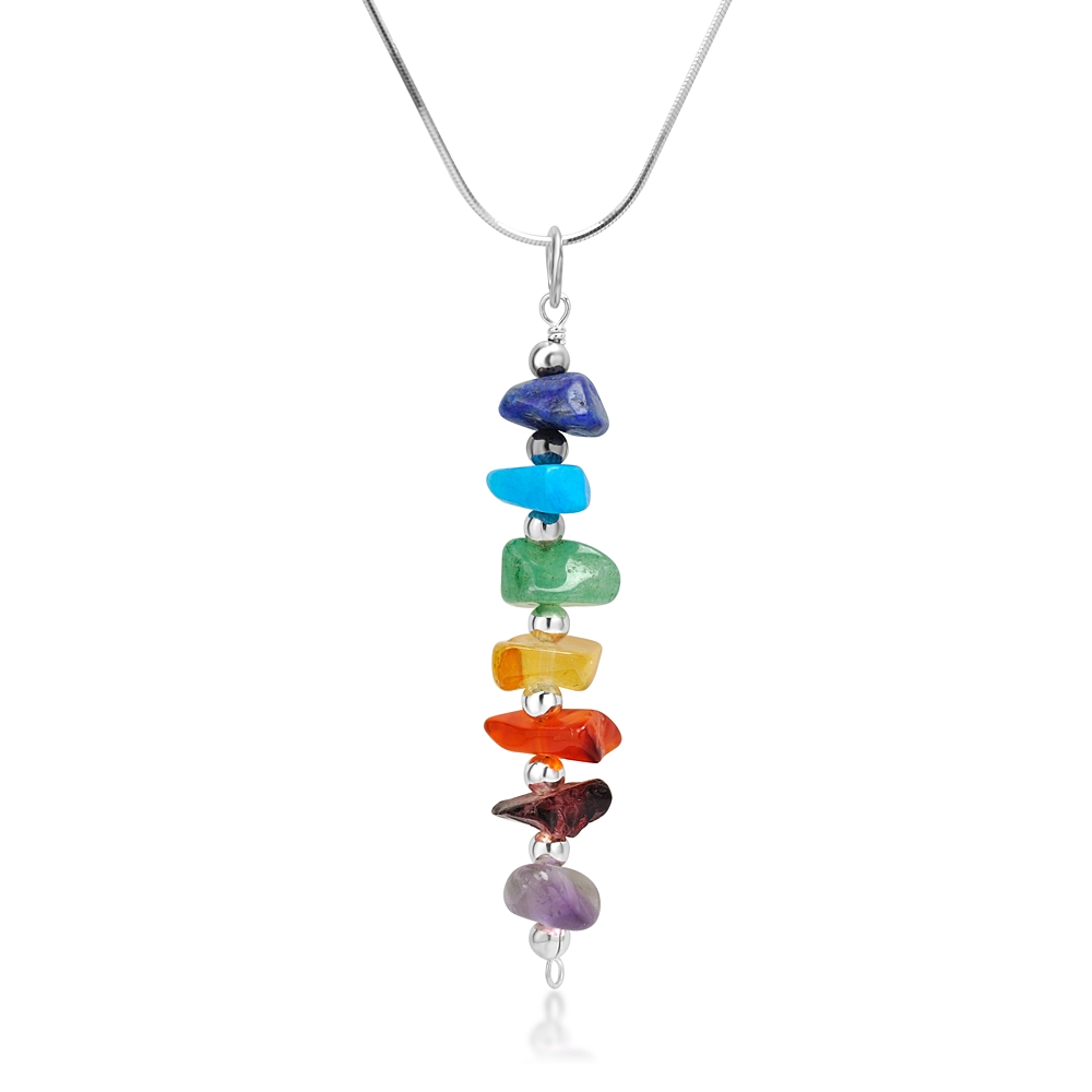 925 Sterling Silver Seven (7) Chakra Natural Gemstones Healing Pendant Necklace, 18 inches