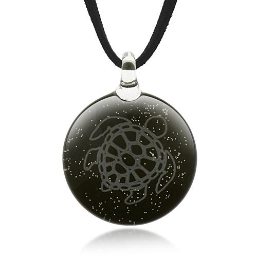 Hand Blown Venetian Murano Glass Sea Turtle Black Glitter Round Puff Pendant Necklace, 18-20 inches
