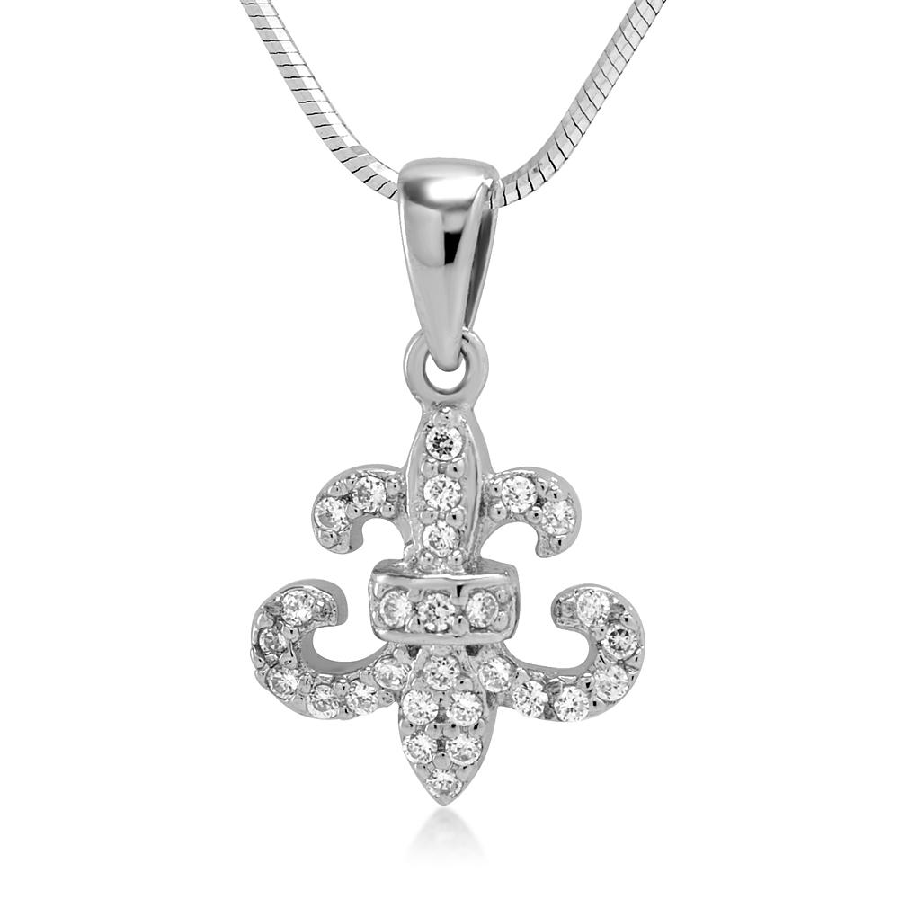 925 Sterling Silver CZ Cubic Zirconia Fleur de Lis Symbol Pendant Necklace 18'' Women Jewelry