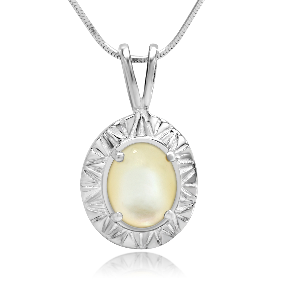925 Sterling Silver White Natural Mother of Pearl Inlay Oval Shaped Pendant Necklace 18''
