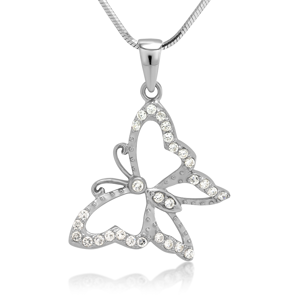 Rhodium plated 925 Sterling Silver CZ Cubic Zirconia Butterfly Pendant Necklace, 18 inches