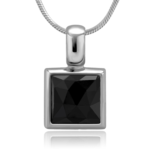 925 Sterling Silver Faceted Black Onyx Gemstone Inlay 10 mm Square Pendant Women Necklace 18''