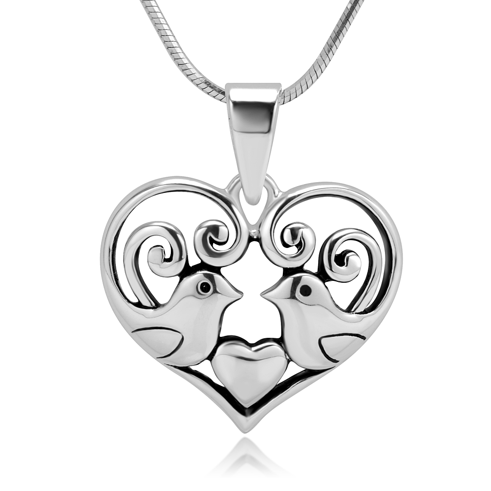 925 Sterling Silver Adorable Love Birds Kissing Heart Shaped Celtic Pendant Necklace, 18 inches
