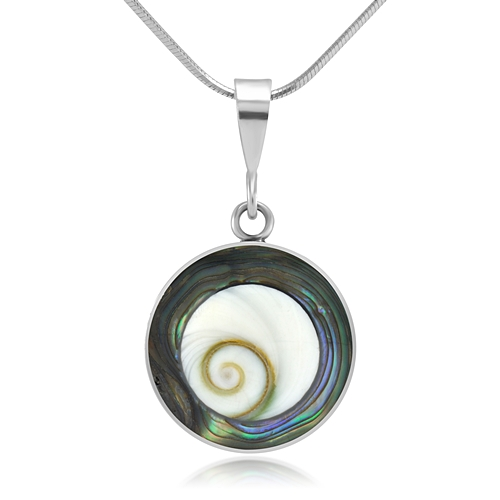 925 Sterling Silver White Shiva Eye and Green Abalone Shell Reversible Necklace, 18 inches