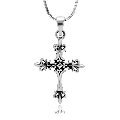 925 Oxidized Sterling Silver Fleur De Lis Cross Symbol Crown Pendant Necklace, 18 inches