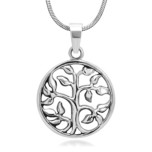 925 Oxidized Sterling Silver Tree of Life Symbol Open Round Pendant Necklace, 18 inches