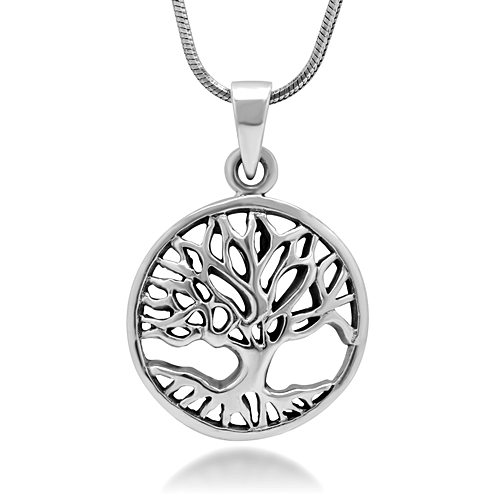 925 Sterling Silver Tree of Life Symbol Open Round Pendant Necklace, 18 inches