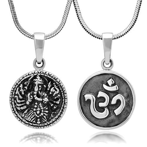 925 Sterling Silver Yoga Ganesha, Ganesh, Aum, Om, Ohm Reversible Round Pendant Necklace, 18 inches