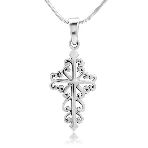 925 Sterling Silver Celtic Filigree Cross Pendant Necklace, 18 inches