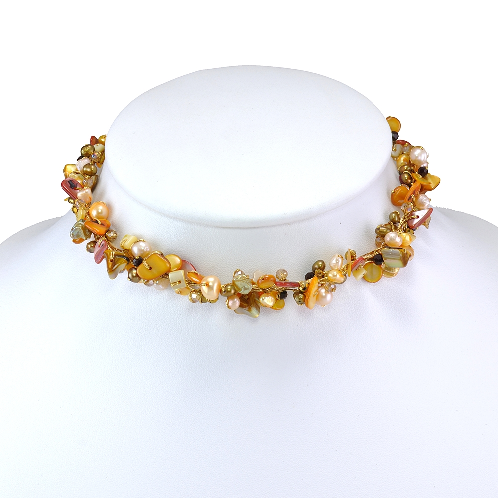 Orange Mother of Pearl Shell Freshwater Cultured Pearl Crystal Beads Necklace, 16-18 inches