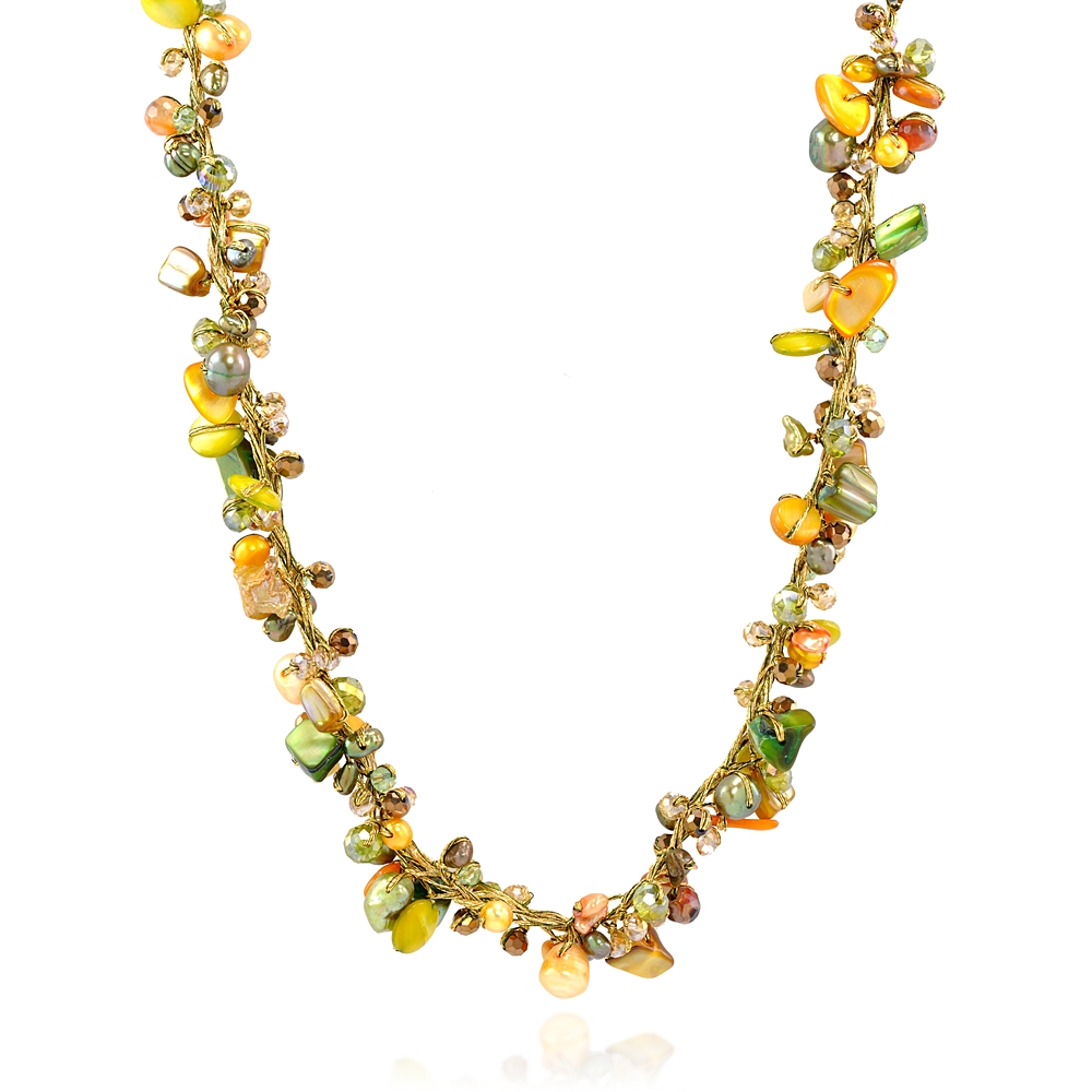 Green Mother of Pearl Shell Freshwater Cultured Pearl Crystal Beads Necklace, 16-18 inches