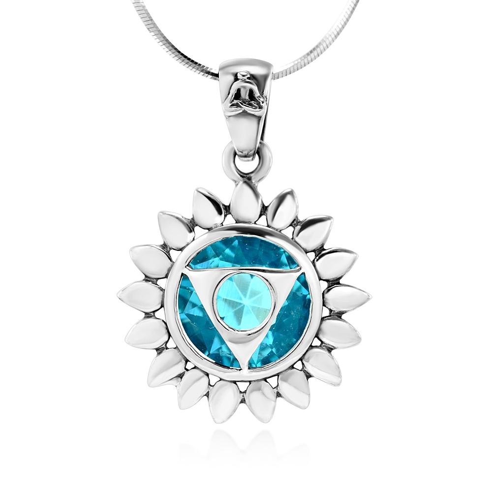 925 Sterling Silver Blue Topaz Gemstone Vishuddha Throat Chakra Healing Pendant Necklace, 18 inches