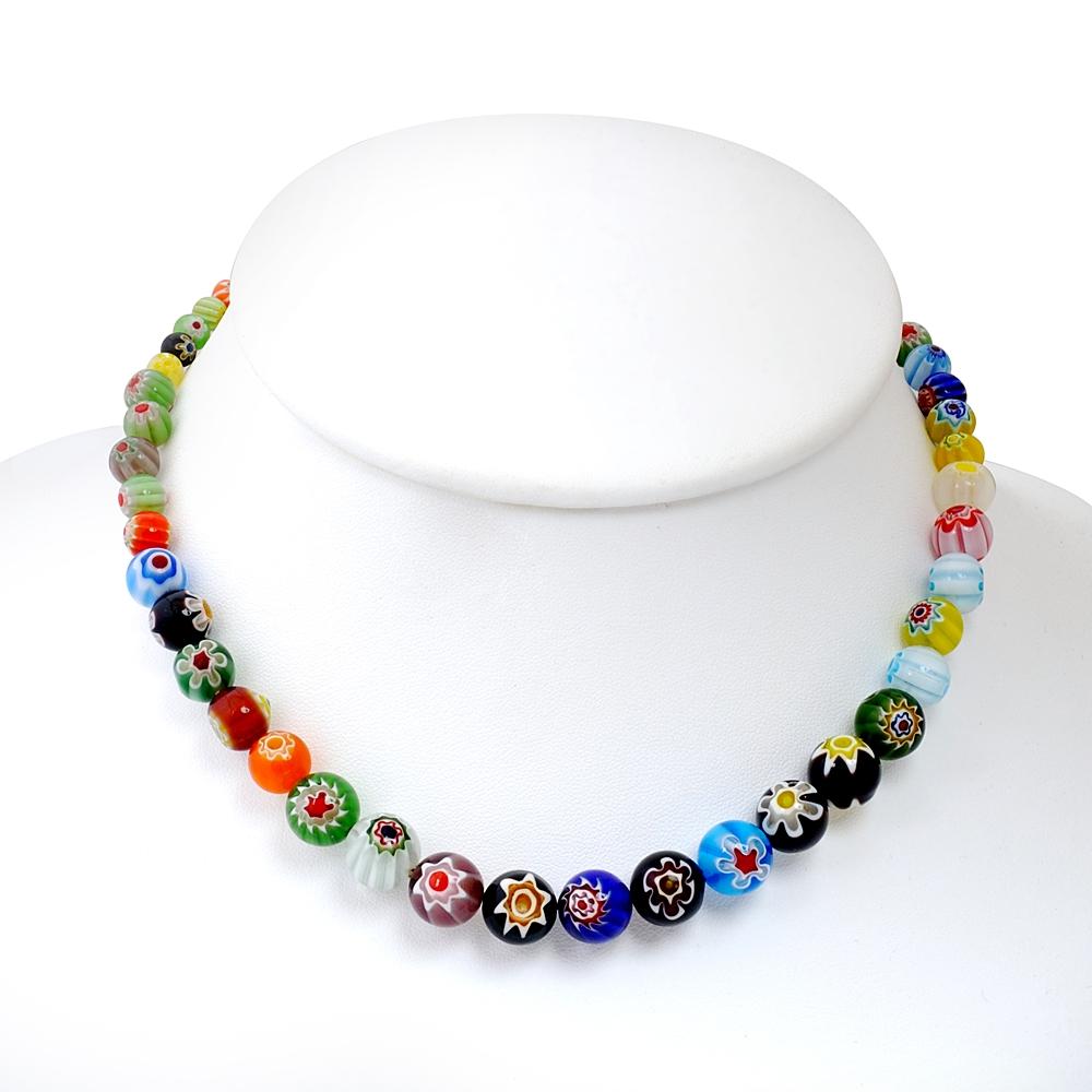 Venetian Murano Glass Multi-Colored Millefiori Flower Ball Round ...