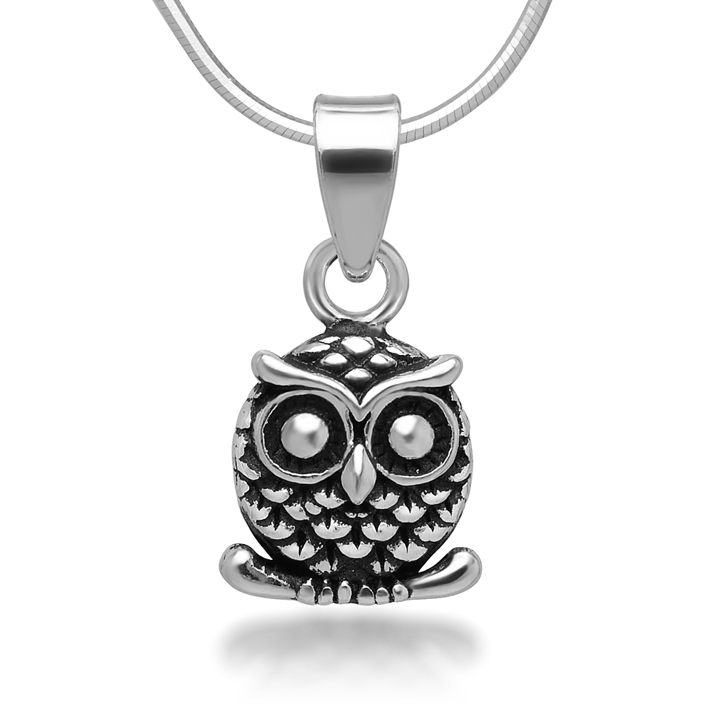 925 Oxidized Sterling Silver Little Owl on Tree Branch Pendant Necklace, 18 inches