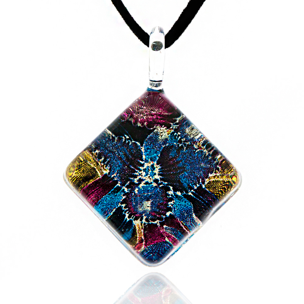 Hand Blown Venetian Murano Glass Blue Orchid Flower Square Pendant Necklace, 17-19 inches