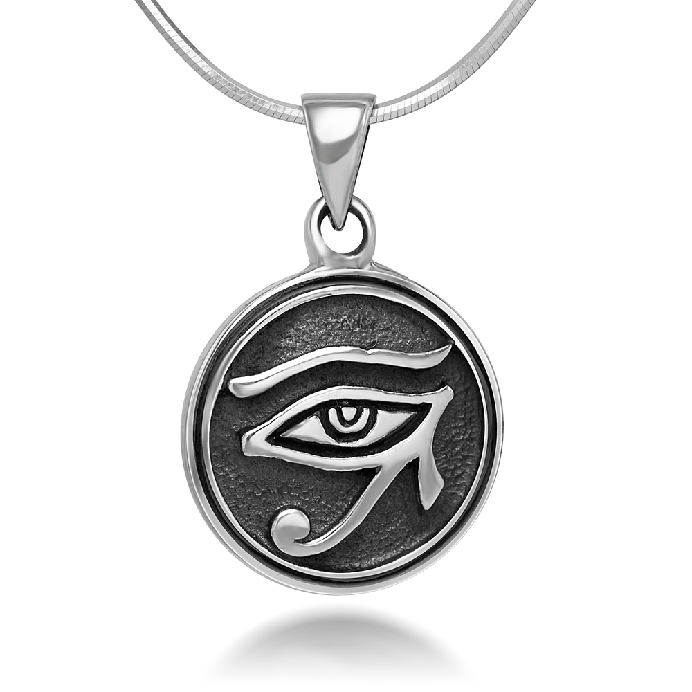 Sterling Silver 14 mm Egyptian Eye of Horus Protection Symbol Round Pendant Necklace 18