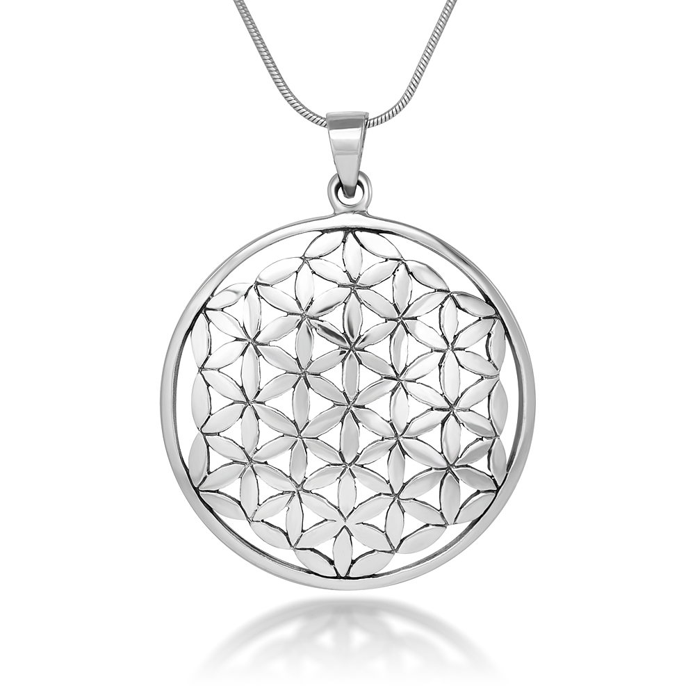925 Sterling Silver Flower of Life Mandala 35 mm Round Circle Charm Pendant Necklace, 18 inches