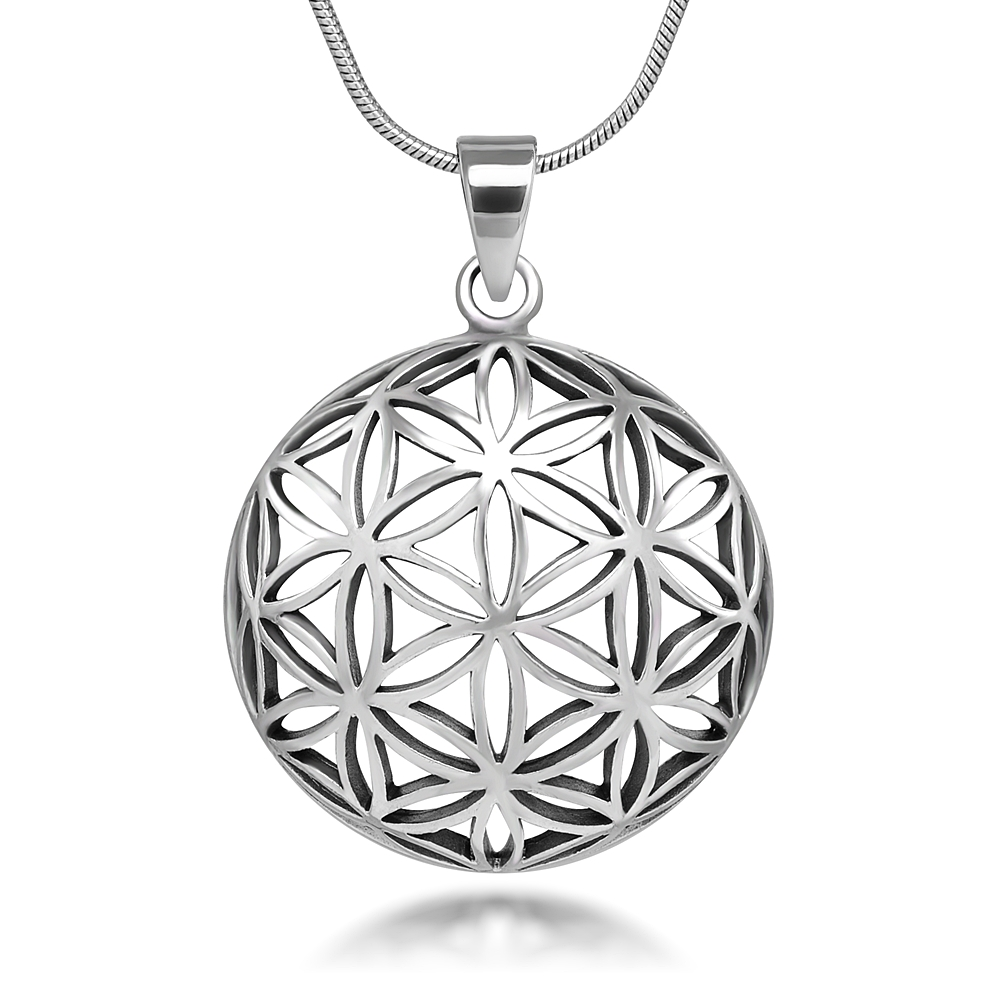 925 Sterling Silver Flower of Life Mandala 25 mm Circle Round Charm Pendant Necklace, 18 inches