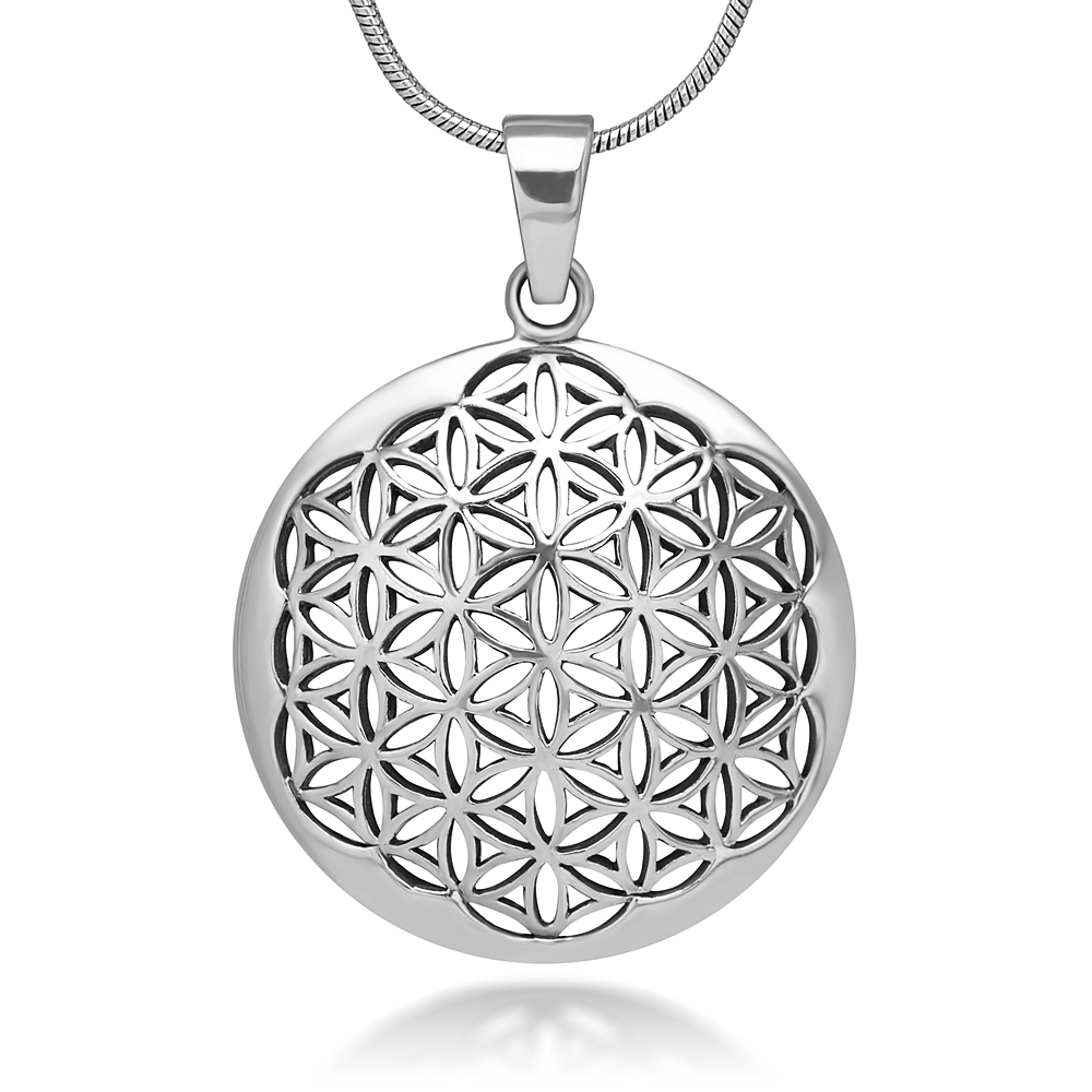 925 Sterling Silver Flower of Life Mandala 27 mm Circle Round Charm Pendant Necklace, 18 inches