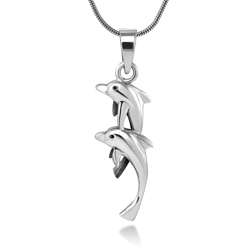 Sterling Silver 26 mm Twin Dolphin Charm Pendant Necklace, 18 Inch Snake Chain