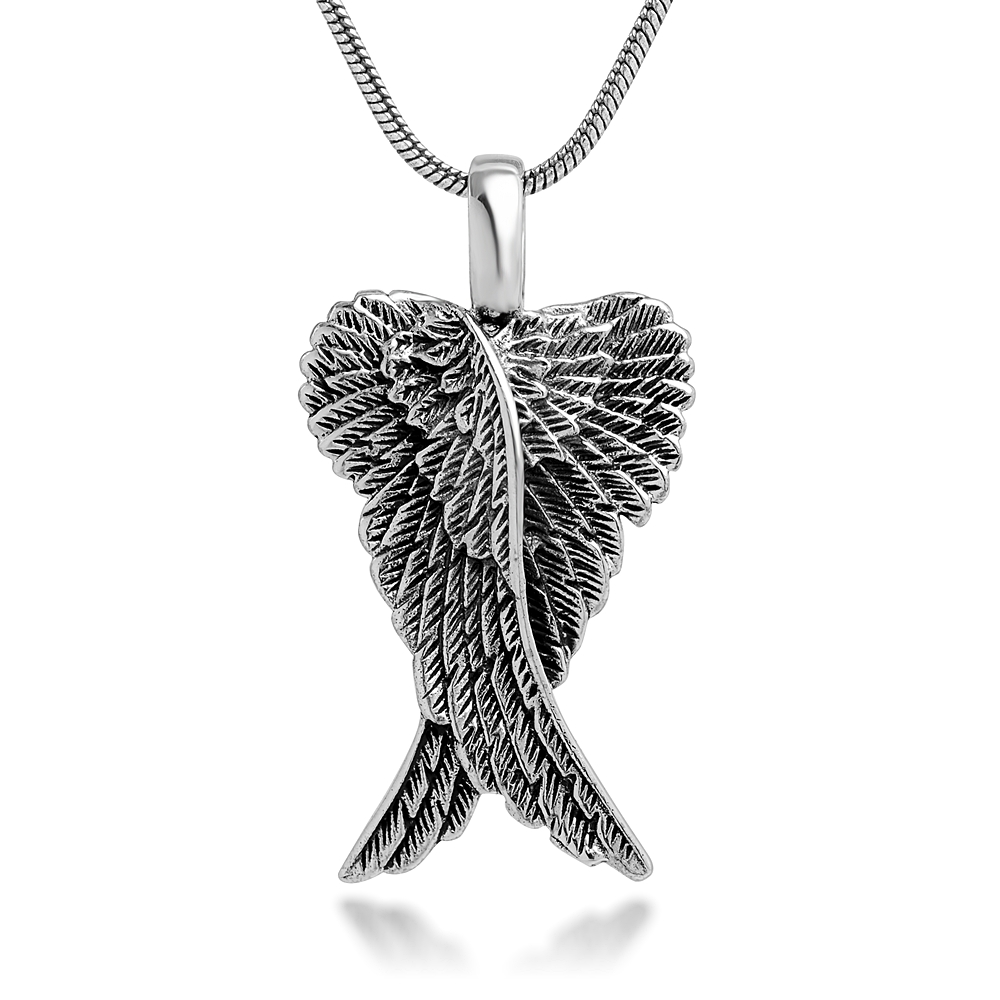 Sterling Silver 21 mm Detailed Angel Wings Charm Pendant Necklace with Snake Chain 18''