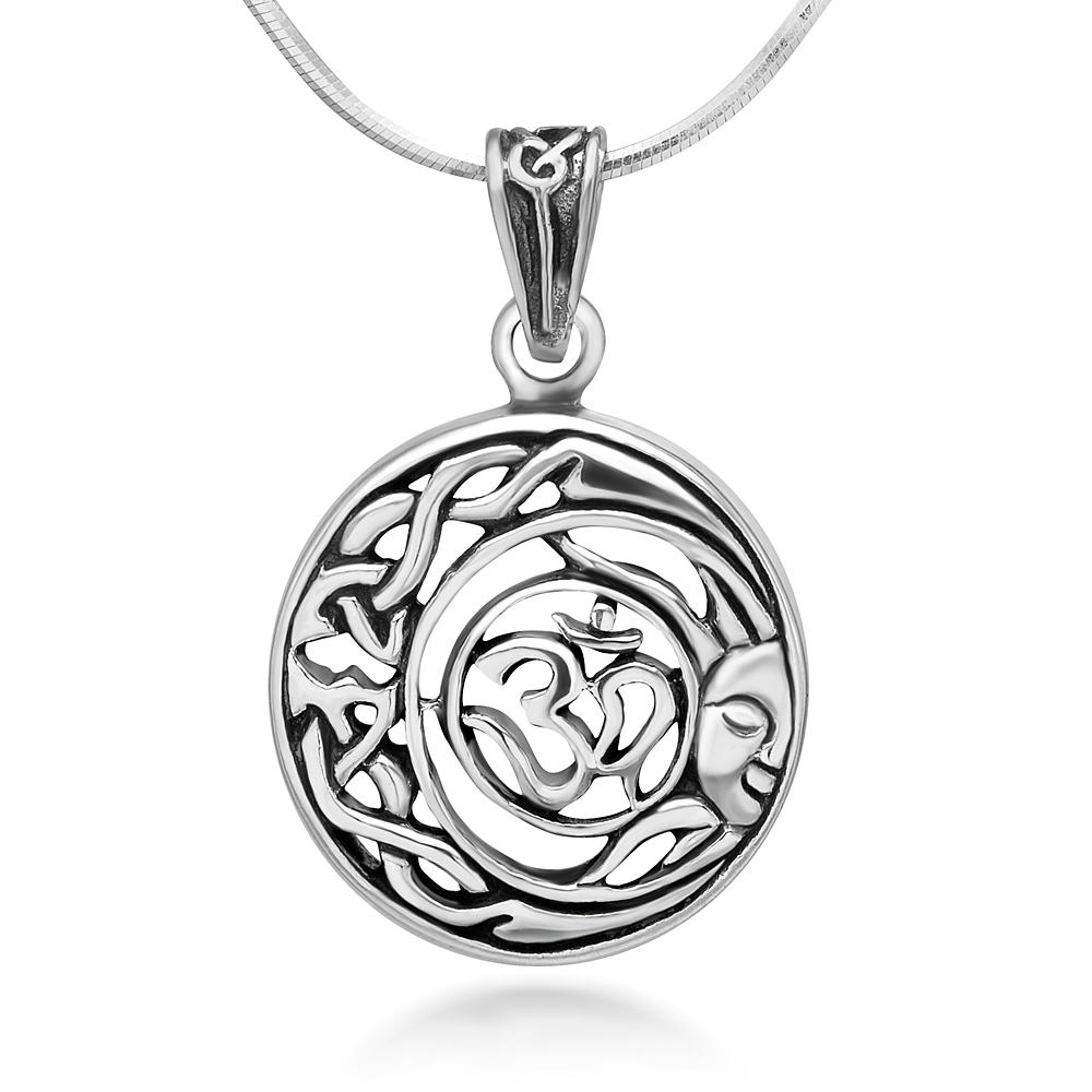 Sterling Silver Aum Om Ohm Hindu Sanskrit Celtic Moon Sun Symbol Round Pendant Necklace 18''
