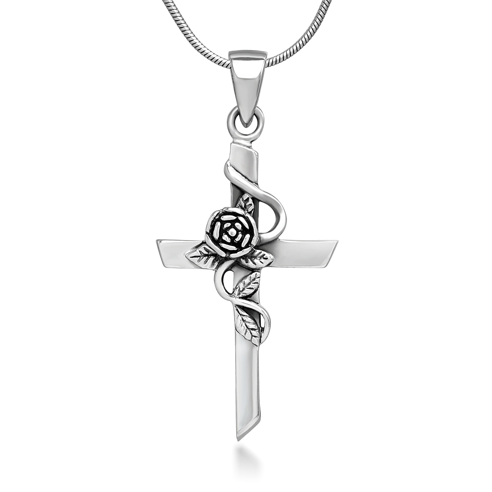 925 Oxidized Sterling Silver Vintage Rose Vine with Leaf Cross Pendant Necklace, 18 inches