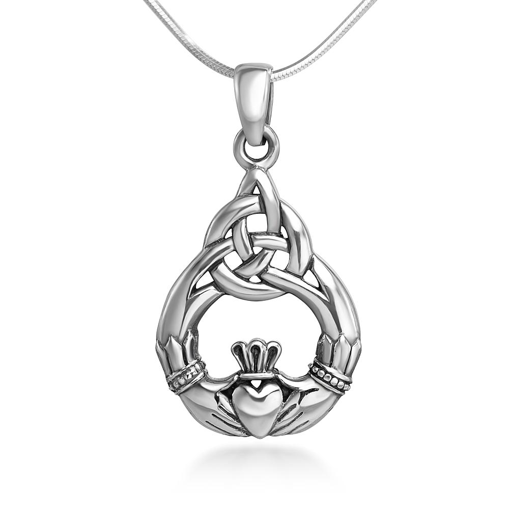 Sterling Silver 20 mm Celtic Knot Claddagh Friendship Endless Love Symbol Pendant Necklace 18''