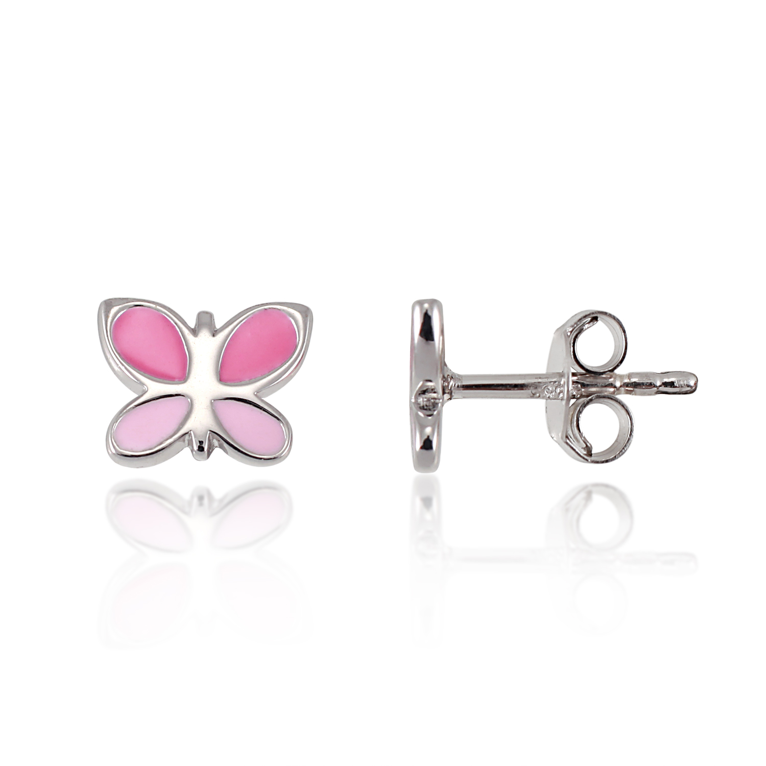 Children's 925 Sterling Silver Tiny Pink Butterfly 7 mm Post Stud Earrings